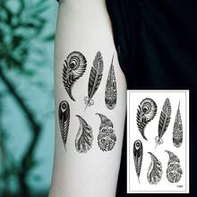 T-058 Sexy feather cool temporary tattoo sticker female simple line pattern body art new design fake male tattoo