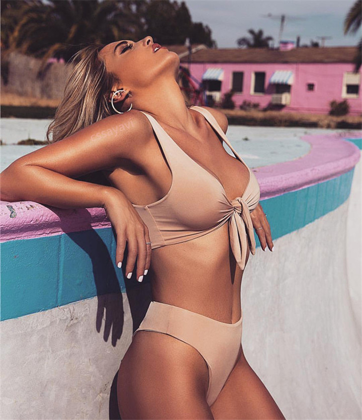 Hot Biquinis 2018 Chest Knotted Swimwear Solid Bikini Set High Waist Bathing Suit Push Up Swimsuit For Women Swimwear