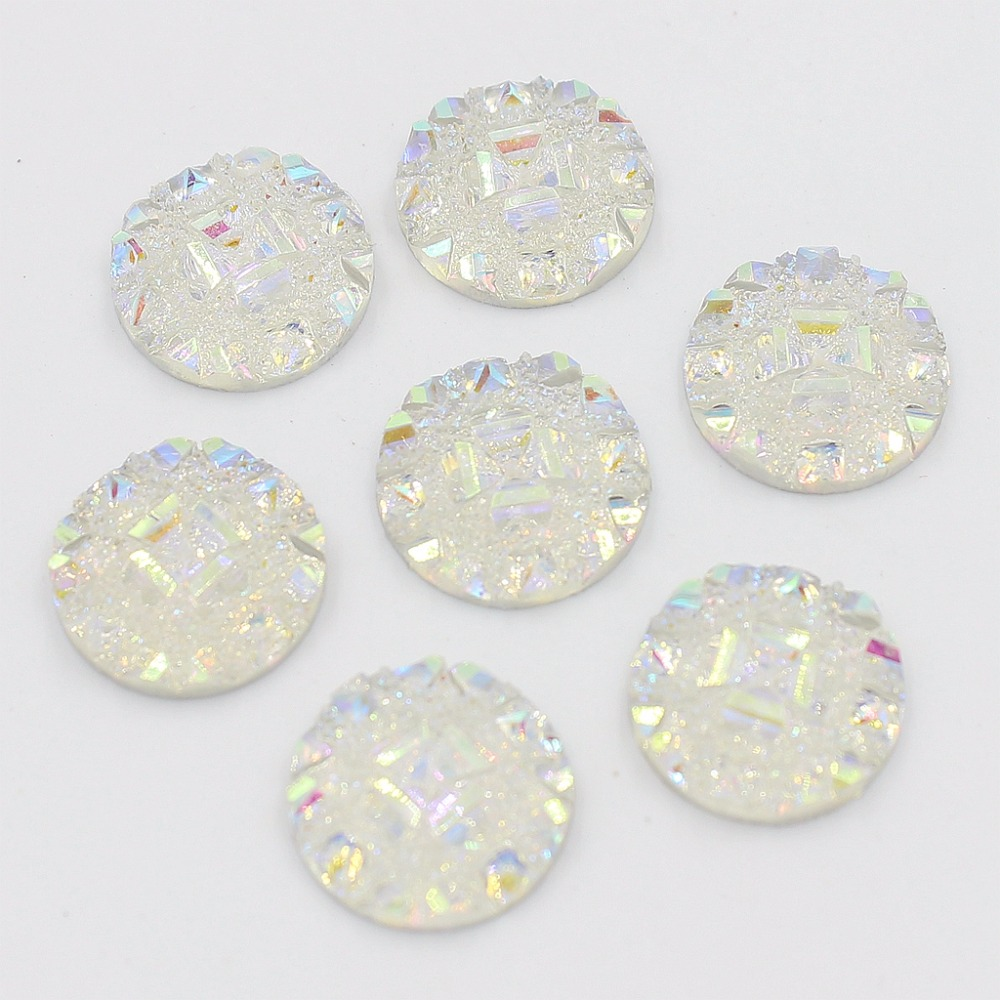 12mm Crystal AB Flatback Resin Round Rhinestone Cabochon Gems,For DIY Decoration(24Pcs/Lot) image