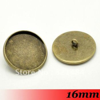Free ship! Bulk 500piece Antique bronze 16mm Round Back button blanks cameo cabochon setting base