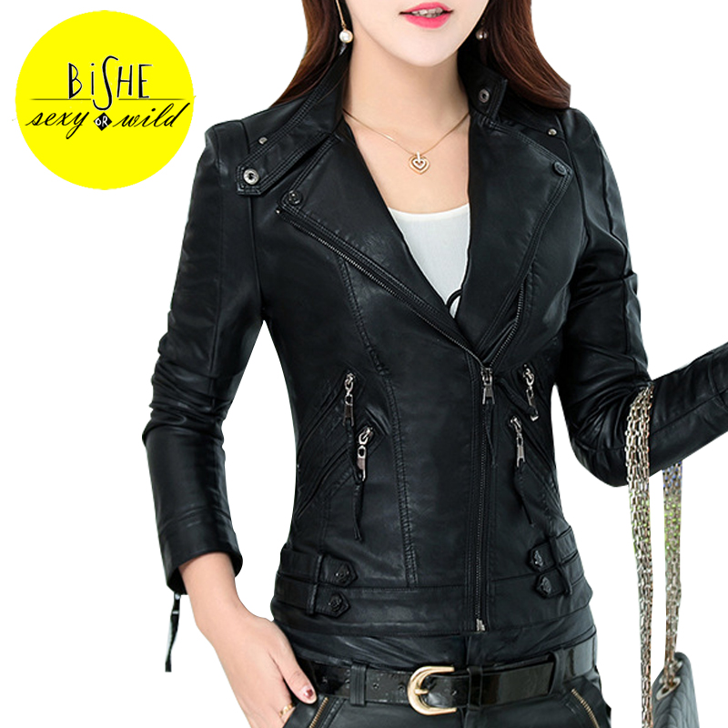 BiSHE Pu Leather Jacket Women Slim Winter Jackets Coat ...