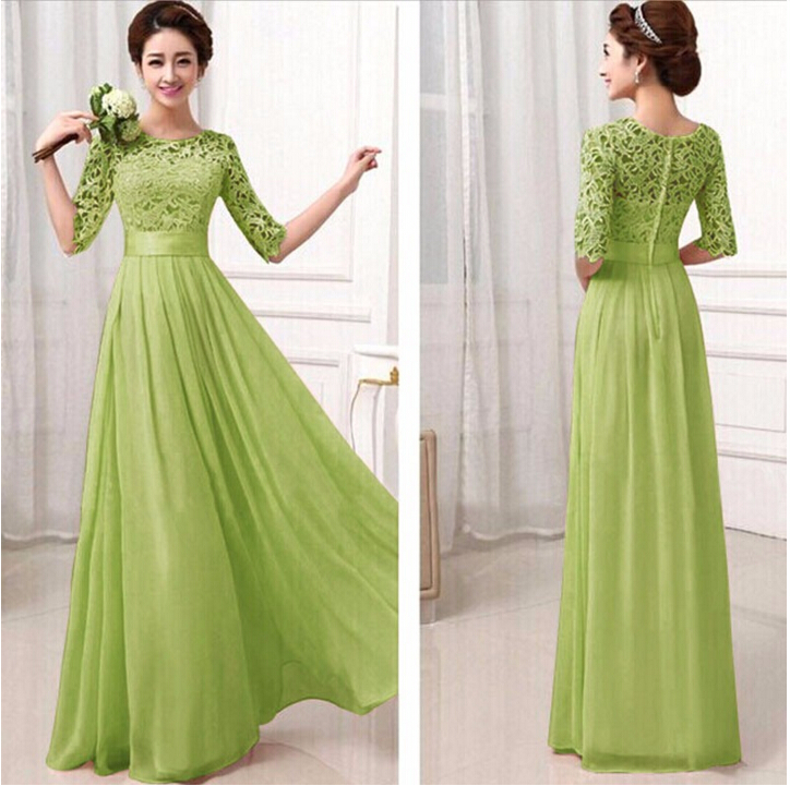 TFGS 2016 Plus Size Women Wedding Party Long Dress Mid Sleeve ...