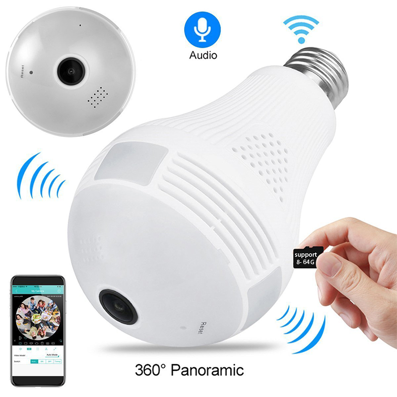 360 grad Smart LED Licht Kamera Home Security WiFi Kameras Sicherheit Überwachung für Android IOS Wireless Remote View Kameras