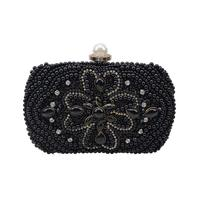 New Black Pearl Beaded dinner bag Fashion Evening bags wholesale party purse Day clutches Chain should bag Champagne party purse