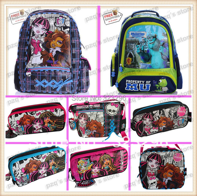 6bbaeeaeae6a US $6.5  Free Shipping Action Figure Monster High School Pencil Case  Student Messenger Lunch Box Bag Backpack Set Girl Gift For Children-in  School ...
