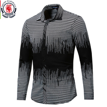 Fredd Marshall 2019 New Fashion Printed Shirt Men Long Sleeve Geometric Shirts Men Casual Dress Shirt Mens Brand Clothes 176