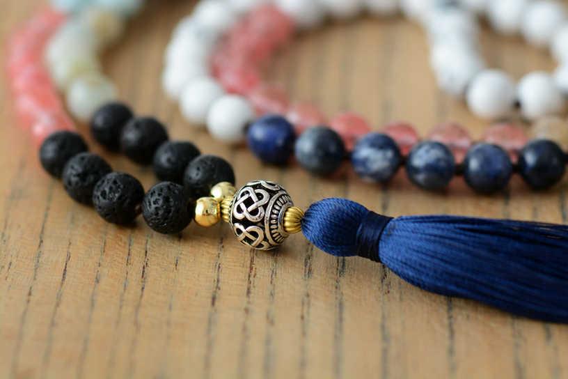 ビーズノットネックレス天然石チベットチャームロングタッセルマラネックレス女性瞑想ヨガ 7 チャクラネックレス
