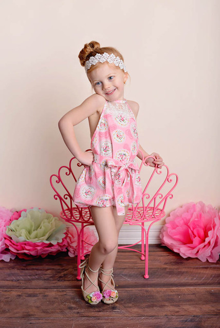 375c1607797f Little Girl Bubble Short Romper with Lace Detail Back Floral Romper Baby  Toddler Romper Art Gallery