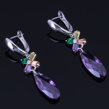 Prominent Long Water Drop Multigem Multicolor Brown Cubic Zirconia 925 Sterling Silver Dangle Earrings For Women V1010