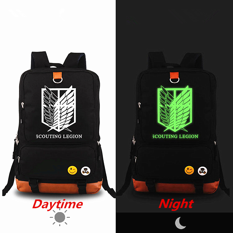 Anime Attack on Titan Luminous Printing Backpack Rucksack Mochila Canvas Backpacks Fashion School Bags for Teenagers Laptop bag fairy tail shoulders school bags anime canvas luminous printing backpack schoolbags for teenagers mochila feminina