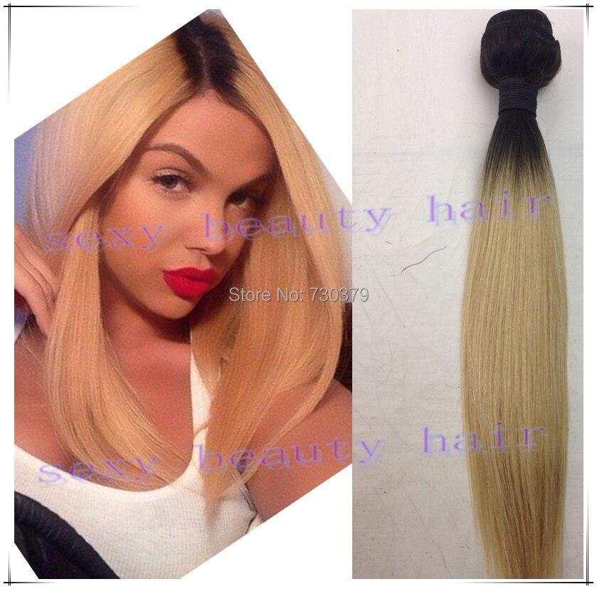 1b 613 Dark Root Blonde Ombre Straight Two Tone Human Hair Peruvian