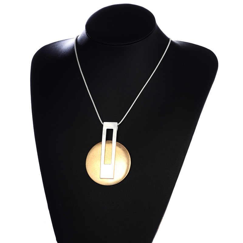 Shineland, новинка, модное простое круглое ожерелье, золото, металл серебристого цвета, подвески для женщин, эффектные, панк, бижутерия, вечерние украшения