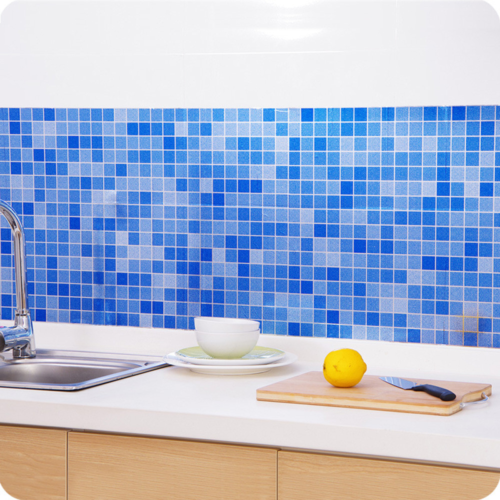 Waterproof Tiles Mosaic Wall Sticker Kitchen Bathroom Toilet ...