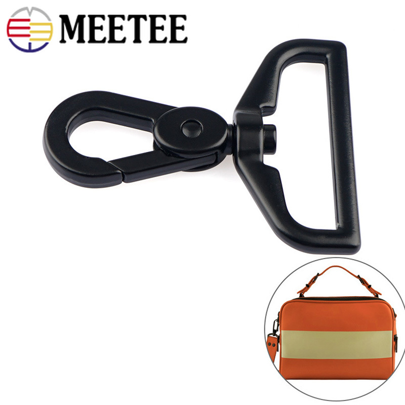 Meetee 2/4pcs Black 38mm Backpack Hanging Spring Hook Alloy Bag Shoulder Strap Belt Buckle DIY Hardware Crafts Accessories E6-2