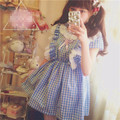 Summer HARAJUKU Japan dresses Kawaii Sweety Young Preppy style Vintage Plaid Dress Soft Cute Lolita Short-sleeve Mori Girl dress