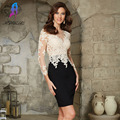 Light Champagne Lace Full Sleeves Robe Cocktail Dresses Short Women Party Dress Black Spandex Zipper Back