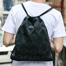 Sports Beam Bag Custom Fitness Clover Unisex Fashion Geometric Diamond PU Backpack Drawstring