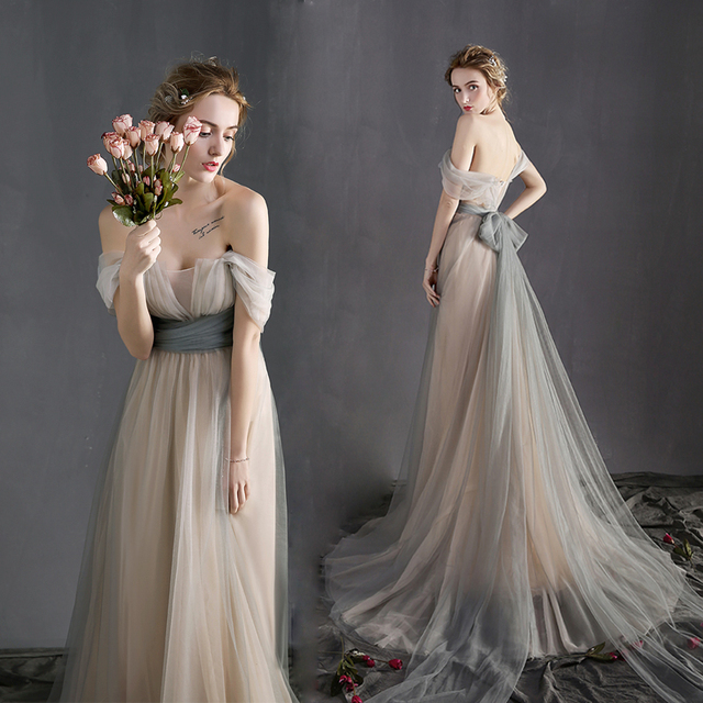 Off the Shoulder Victorian Vintage Wedding Dresses Long Court Train ...