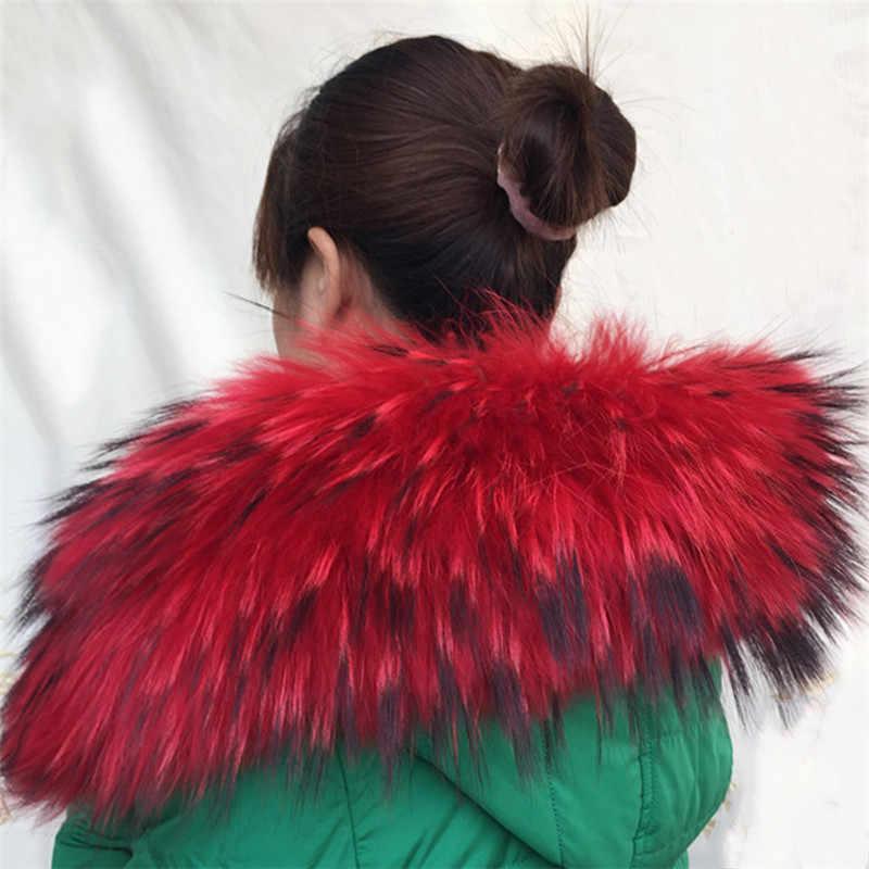 Venda quente de Inverno Pele Natural para inverno 100% Gola de Pele De Guaxinim Real & Das Mulheres Lenços Lenços de Moda Casaco Camisola Gola Luxo Pescoço cap 70cm