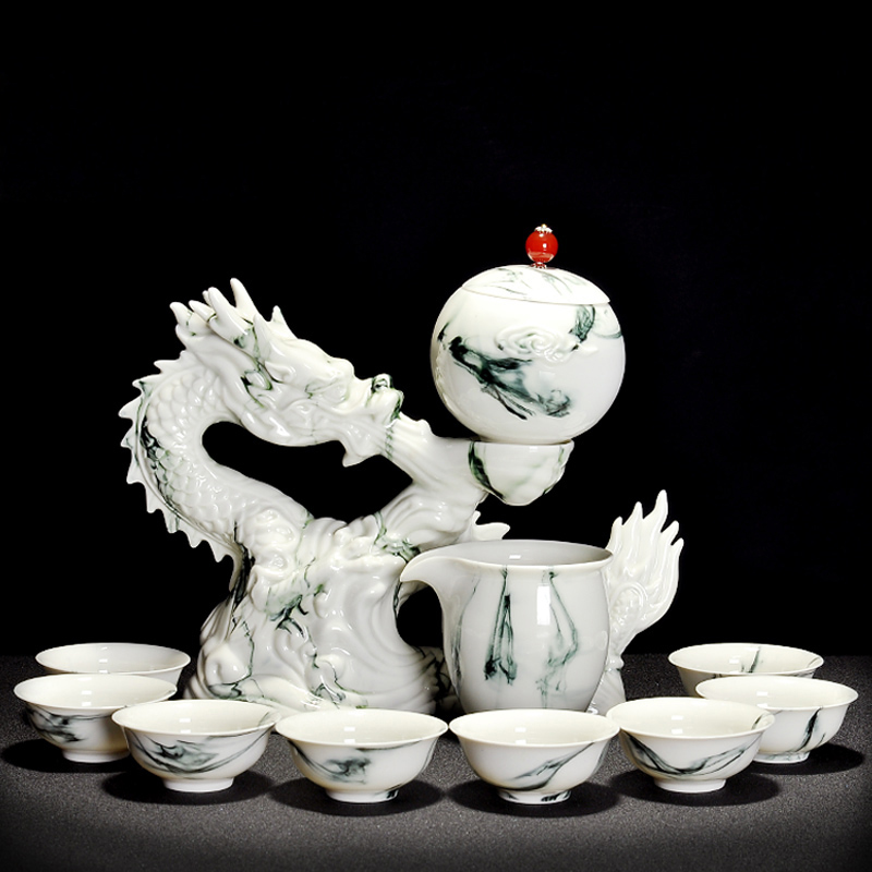 11PCS/Lot Creative Automatic Ceramic Porcelain Tea Set Cha Hai Rotate Gaiwan with Teacup Fair Cup Majestic Dragon Kit Art Gifts