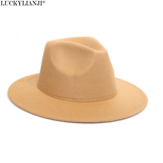 c6bce55bd6f LUCKYLIANJI Retro HQ Wool Felt Kid Child Children Solid Color Panama Fedora  Hat Vintage Gangster Cap