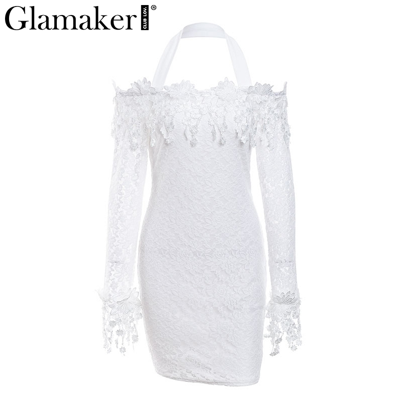 64c69cffc2ef4 Glamaker Halter lace mesh bodycon christmas dress Women white off ...