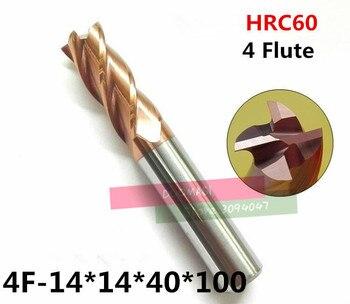 4F-14*14*40*100, hrc60 Carbide End Mill Originele Product Vierkante Flatted 4 Fluit Coating Fabriek koop Cnc Machine Frees
