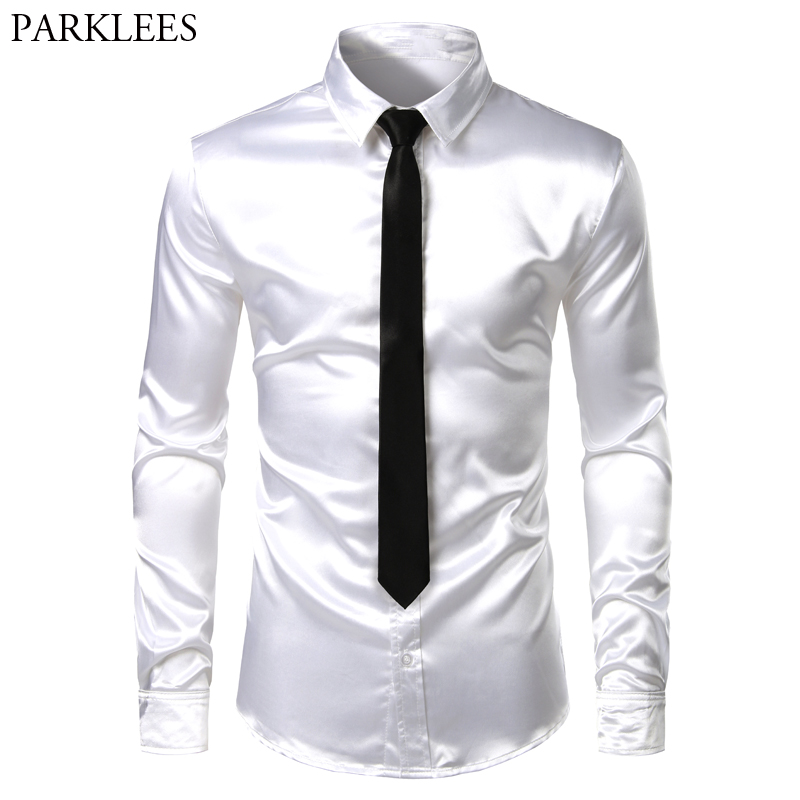 Men's 2 Pieces (Shirt+Tie) White Silk Satin Dress Shirts Slim Fit Long Sleeve Button Down Shirt Male Wedding Party Prom Chemise