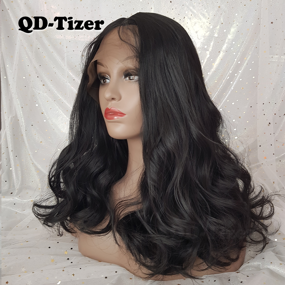QD-Tizer Short Wavy Lace Front Wigs Glueless Wave Hair Wig Natural - Syntetiskt hår - Foto 3