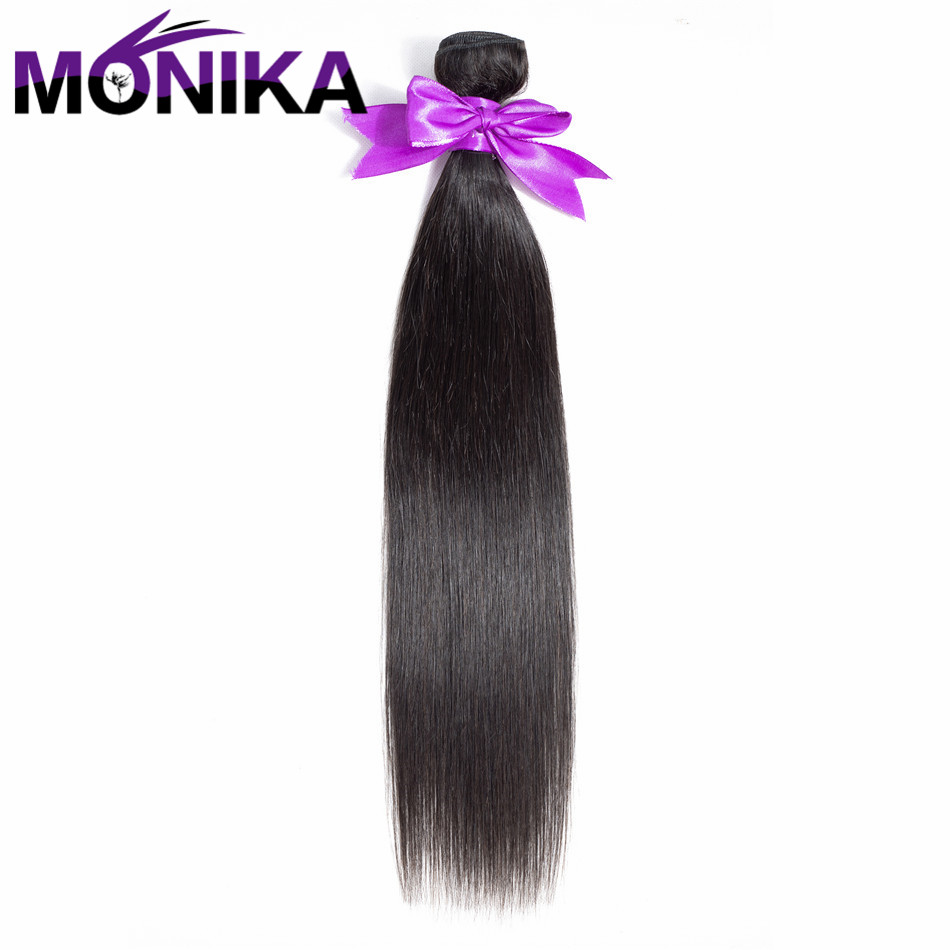 Monika Hair Straight Wave Human Hair 1 Bundles 100% Brazilian Non Remy Human Hair 8-26 Inch Machine Double Weft Human Hair ...