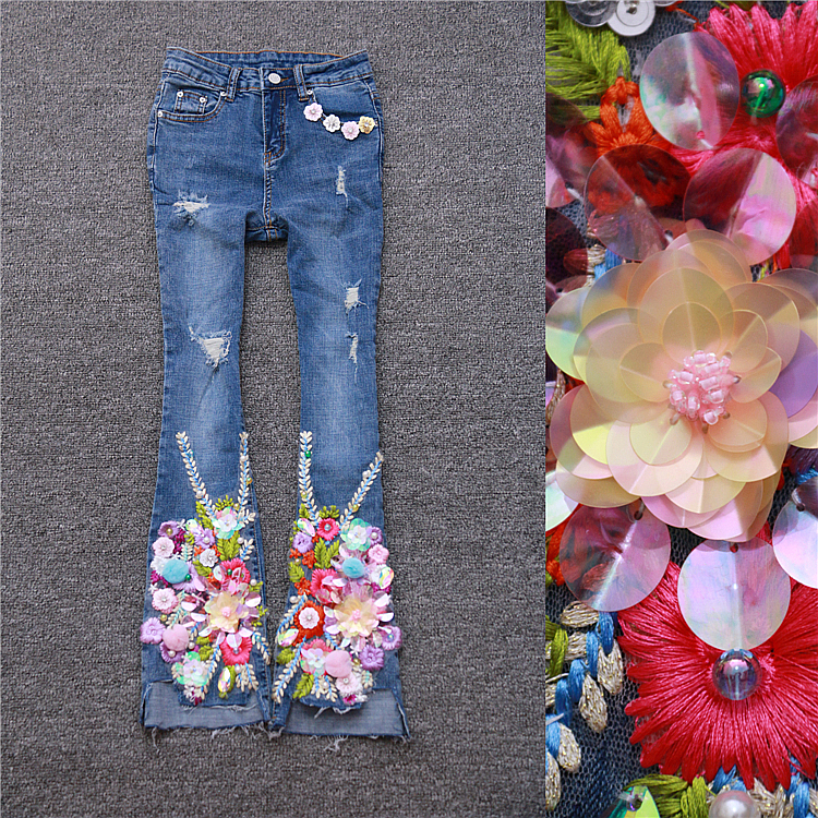 European Style Autumn Women High Quality Heavy Sequins Embroidery Slim Show Thin Elastic Jeans Female Irregular Horn Denim Pants stylish european autumn