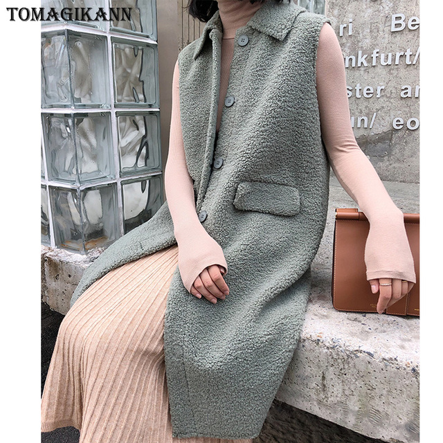 Solid Pocket Long Women Sherpa Vest Coat Korean Style Single Breasted Turn Down Collar Composite Lamb Wool Gilet Colete feminina