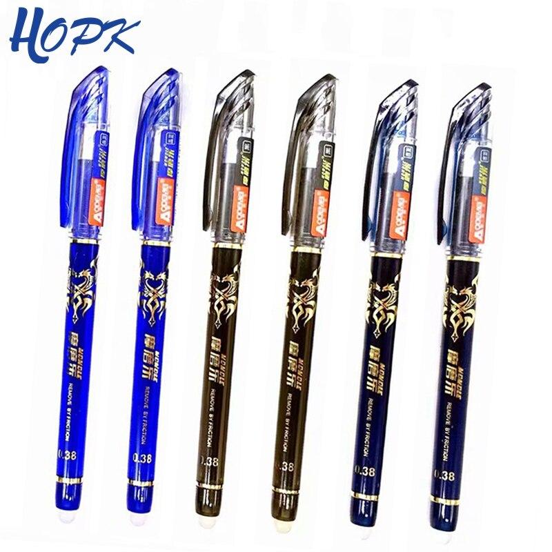 3/12Pcs/Set Erasable Washable Pen Handle 0.38mm Blue Black Red Erasable Gel Pen Refill Rod School Office Writing Stationery