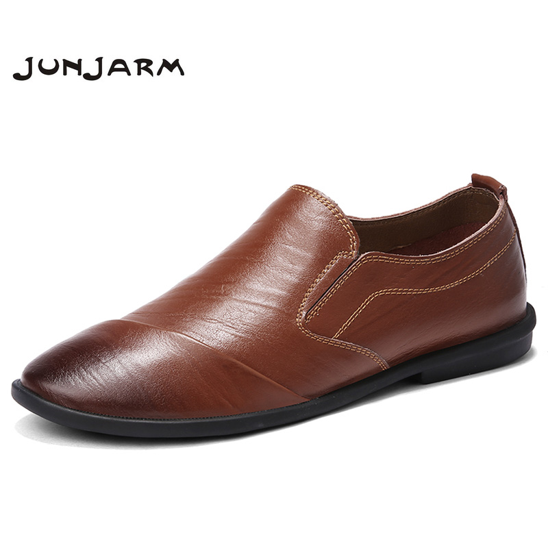 JUNJARM 2018 Handmade Genuine Leather Mens Loafers Mens Slip On Shoes Soft Men Casual Shoes Fashion Men Driving Shoes new 2017 men s genuine leather casual shoes korean fashion style breathable male shoes men spring autumn slip on low top loafers