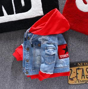 Image 2 - Boy girl Denim Jackets kids jeans coat Children splice Outerwear clothing Spring Autumn boy hooded sport Clothes For 1 6T kids