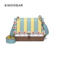 SIMOWEAR 2017 Summer Color Block Women Famous Brands Leather Handbag Vintage Rivet Shoulder Bag Purse Crossbody