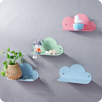 DIY Clouds Storage rack with 2 Stickers potted ornaments for background wall decoration organizer shelf
