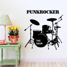 Black Punkrocker Musical Instruments Drums Wall Stickers Home Decor Boys Bedroom Wall Decals Vinyl Removable Adhesive Wallpaper