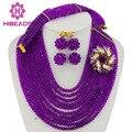 Модные Африканские Бусы Ювелирные Наборы Фиолетовый Кристаллические Шарики Комплект Ювелирных Изделий Нигерии Свадебный Люкс Ожерелье Комплект Ювелирных Изделий AJS264
