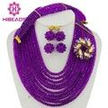 Perlas Africanas Sistemas de La Joyería de moda Púrpura Granos Cristalinos de La Joyería Nigeriano Boda Collar de La Joyería Nupcial Conjunto AJS264