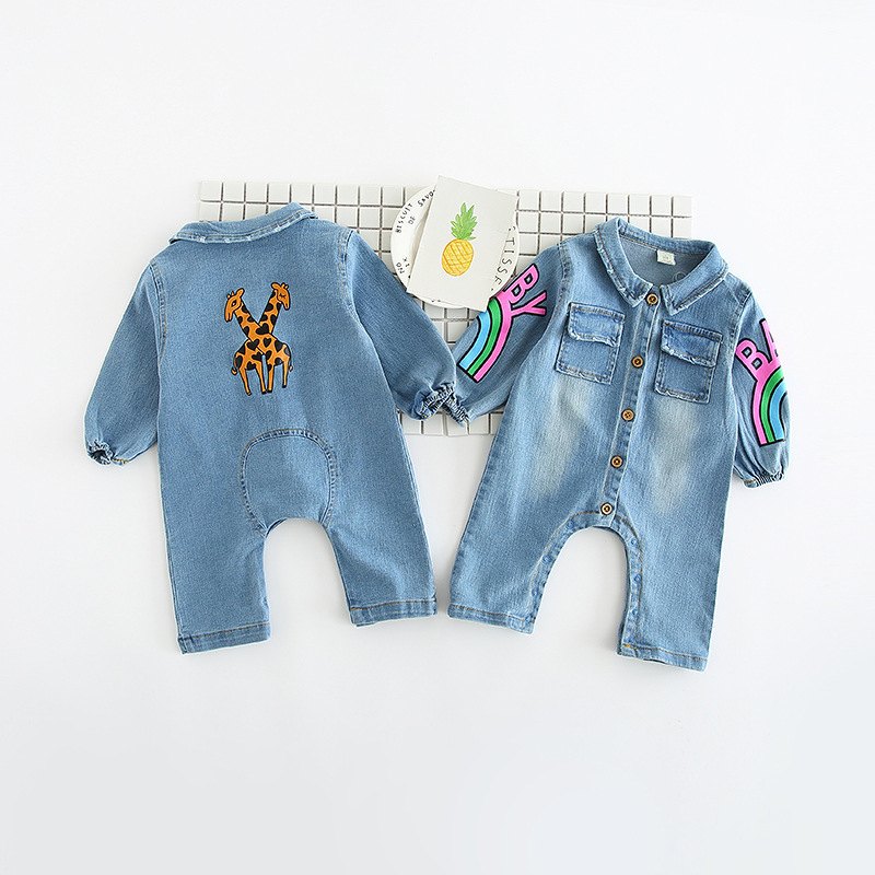 New Spring Baby Cowboy Giraffe Jumpsuit Baby Climbing Suit With Pocket Baby Rainbow Jumpsuit Free Shipping RM001