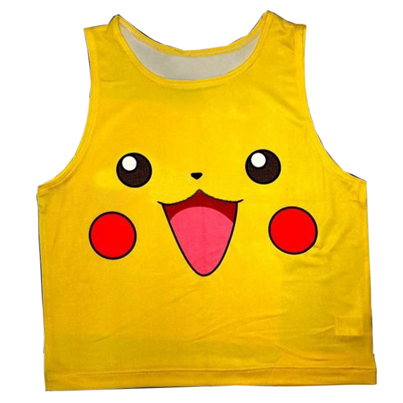 Ultra-short Digital printing Women Tank Tops Cute Pikachu Printed Casual Ladies Tops 2018 Spring Summer High Street Tank Tops