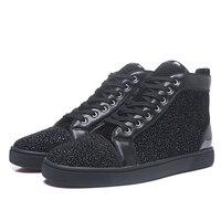 Роскошные блесток ткань со стразами мужские кроссовки 9908 черный с высоким берцем на шнуровке круглый носок Туфли без каблуков повседневная