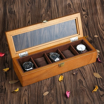 YA High Quanlity 5 Slots Watch Boxes European Style Watch Storage Case Wood Watch And Jewelry Display Wood Watch Case W023 solid wood watch case organizer with mens 5 slots acrylic clear window display