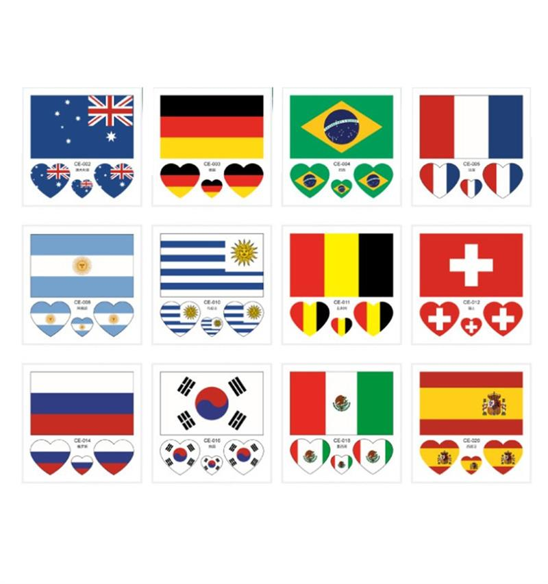 6 Sheets National Flags Transparent Tattoo Stickers Waterproof For 2018 Russia World Cup Fashionable Face Body Decor Soccer Fans