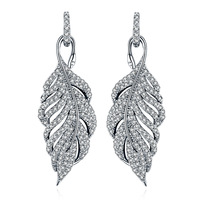 SALE 925 Silver Europe Feather Crystal From Swarovski New Fashion Creative Cz Earrings Classic Retro Micro