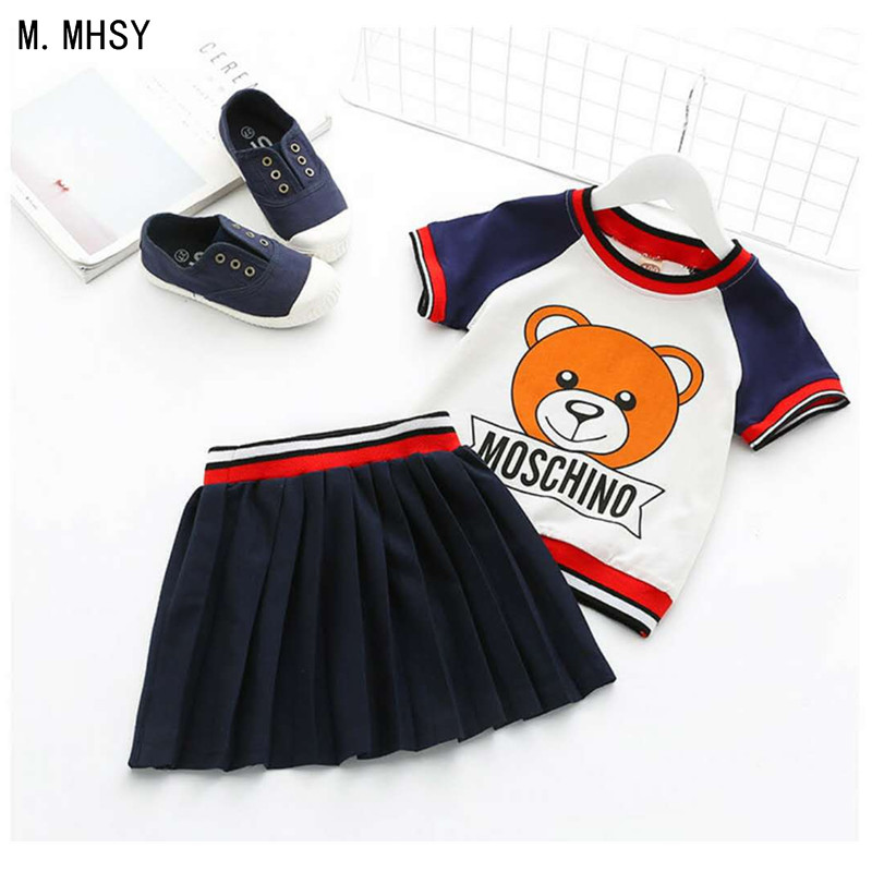 Baby girl Sports T-shirts Baby Boy clothes Sets kids 2PCS coat Pants children Cute Cartoon bear outfits for Children Clothing 2pcs children outfit clothes kids baby girl off shoulder cotton ruffled sleeve tops striped t shirt blue denim jeans sunsuit set