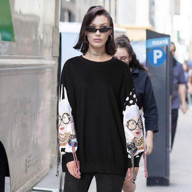 [XITAO] Europe Spring 2018 Women Fashion Street O-Neck Tassel Pullover Full Sleeve Beading Cartoon Pattern Sweatshirts XWW2734