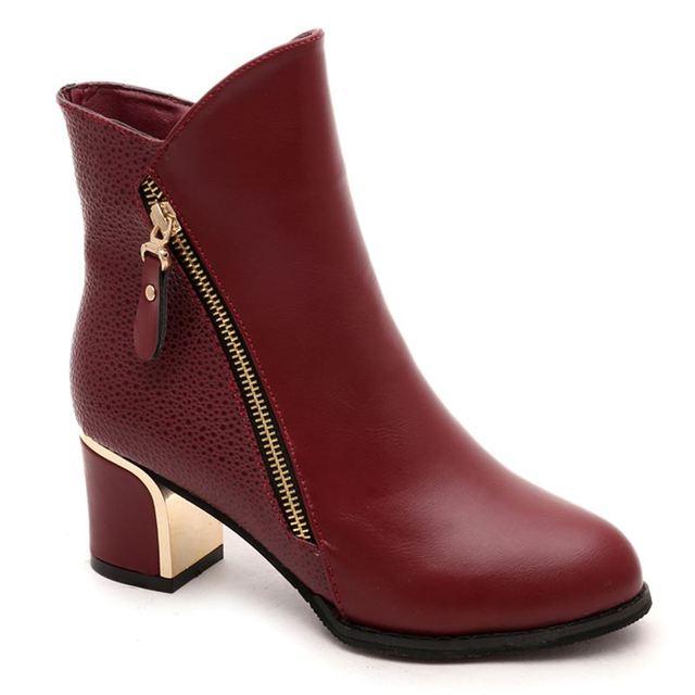 2017 Nuevo de Las Mujeres Botas de Mujer zapatos de Tobillo Botas de Tacón Alto Botas Zapatos de Mujer botas mujer de talla grande Negro Rojo
