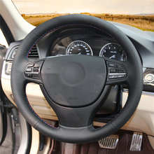 High quality Black Artificial Leather anti-slip customized car steering wheel cover For BMW F10 523Li 525Li 2009 730Li 740Li цена и фото